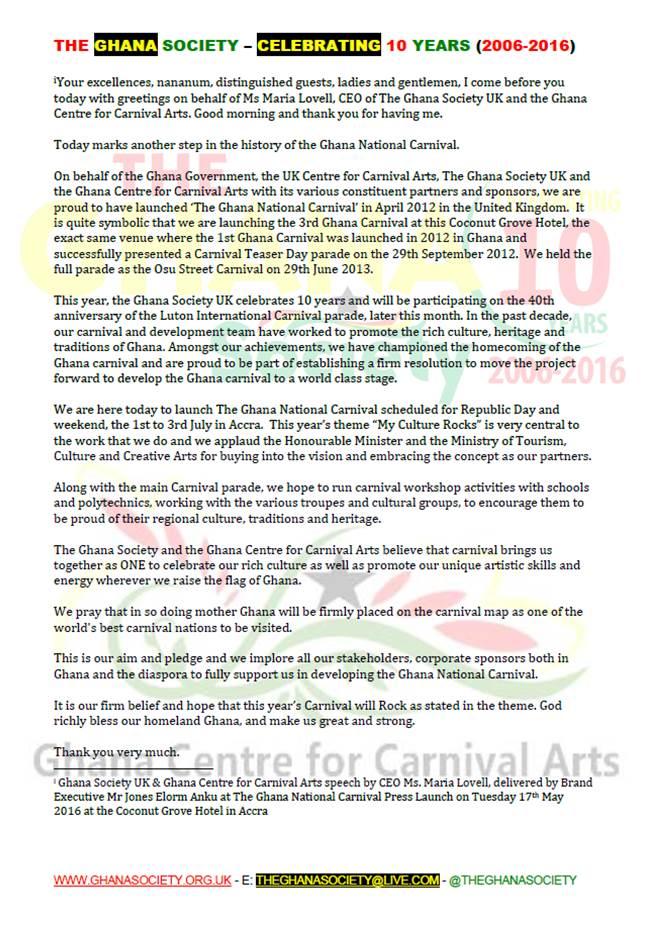 The Ghana Society Speech-Ghana National Carnival Launch 2016